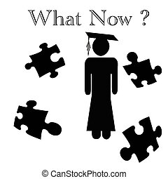 grad poster - grad student and puzzle pieces on white...