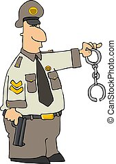 Cop With Cuffs - This illustration depicts a policeman...