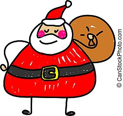 santa claus - cute santa claus carrying his sack of toys...