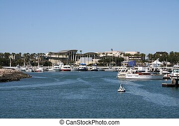 Long Beach Aquarium - looking across the harbor at the...