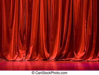 Red Velvet Stage Curtains with Stage Floor
