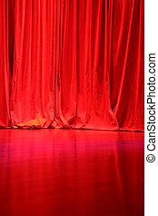 rouges, velours, étape, rideaux