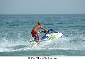 Jet-ski - Young man and his jet-ski