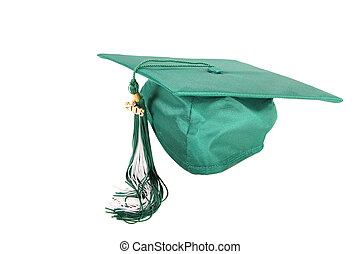 Graduation cap - Green graduation cap isolated on a white...