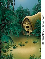 Forest cottage - Highly detailed cartoon background 21 -...