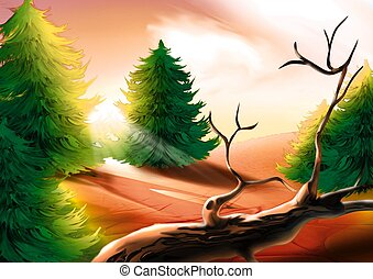 Forest green - Highly detailed cartoon background 23 -...