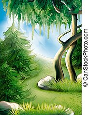 Forest hillside - Highly detailed cartoon background 24 -...