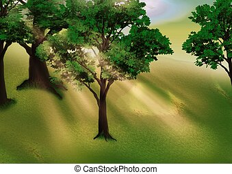 Grove and sunbeams - Highly detailed cartoon background 26 -...