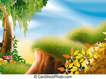 Hillside and tree - Hillside tree - Highly detailed cartoon...