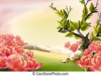 Meadow and blooms - Highly detailed cartoon background 34 -...