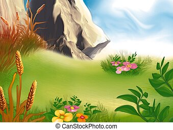 Mountain medow - Highly detailed cartoon background 36 -...