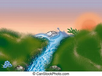 Mountain stream - Highly detailed cartoon background 38 -...