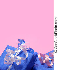Blue Gifts - Gifts wrapped in blue with pink, white and blue...