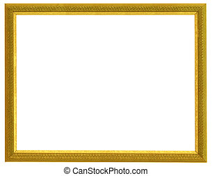 golden frame - golden horizontal frame isolated on white...