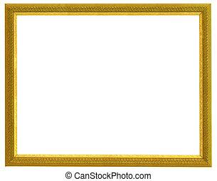 golden frame - golden horizontal frame isolated on white...