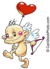 Cupid with a balloon - 11 12:30:32 Cupid, heart, balloon,...