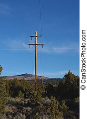 Powerline in rural area with mountain in the background.