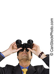business vision: businessman looking up though binoculars,...