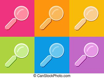 magnifying glass icon - computer generated clipart