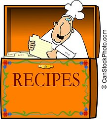 Chef In A Recipe Box - This illustration depicts a chef in a...
