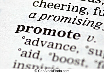 Promote - The word promote written in a thesaurus