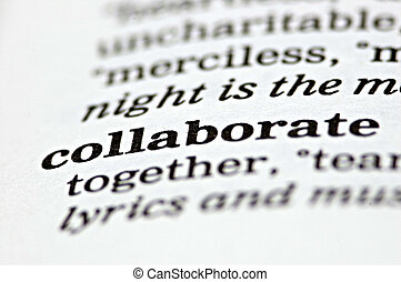 Collaborate - The word collaborate written in a thesaurus