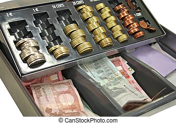 Cash-box - Cash box with chance and europeans banknotes