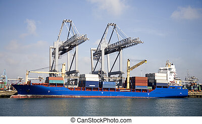 Cranes and carriers - Container ship at the Port of...