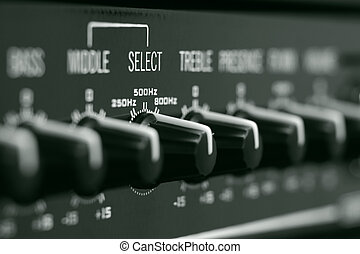 Control knobs - Close-up of the hi-end audio amplifier...