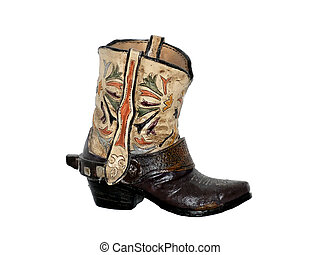 One boot 50983 - One cowboy boot made from clay, from an...