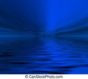Midnight Calm Ocean  - Midnight blue calm ocean view .