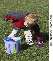 Baby boy hunting eggs - Little boy having fun at easter time...