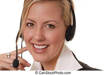 encantador, ayuda, escritorio, dama, 3