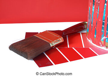 painting supplies - paint swatches, and paintbrush and red...