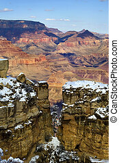 Grand Canyon in winter - Snow on the South Rim of Grand...