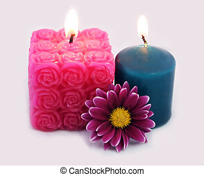 Candles and flower - spa and beauty products