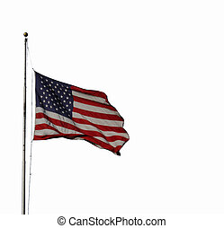 US Flag - US flag on a pole with a white background