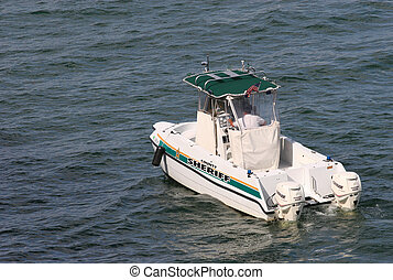 Sheriffs Boat - A country sheriffs boat in the intracoastal...
