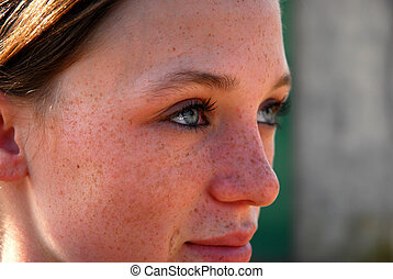 face of teenager - portrait of  teenager