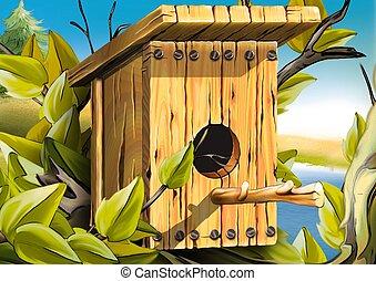 Nesting box for birds - Highly detailed cartoon background...