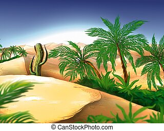 Oasis - Highly detailed cartoon background 42 - illustration