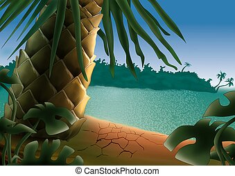 Small island - Highly detailed cartoon background 52 -...
