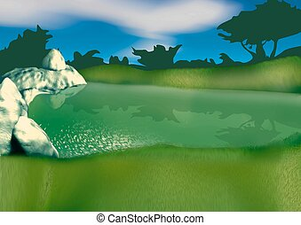 Small lake - Highly detailed cartoon background 53 -...