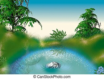 Small pond - Highly detailed cartoon background 54 -...
