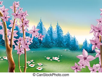 Spring forest meadow - Highly detailed cartoon background 55...