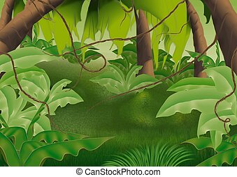 Virgin forest - Highly detailed cartoon background 61 -...