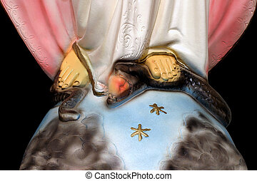 Controlling Temptation - close-up on the foot of Mary, Queen...