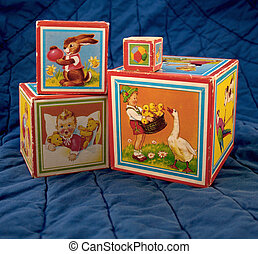 old childrens blocks 2 - four very old childrens blocks made...