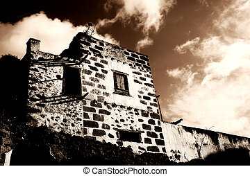 Spooky Hacienda - Spooky old abandoned hacienda in sepia...