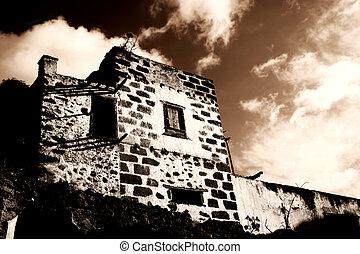 Spooky Hacienda - Spooky old abandoned hacienda in sepia...